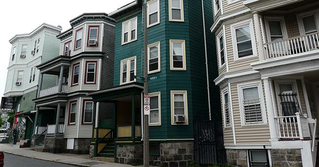 Triple-decker homes in Boston