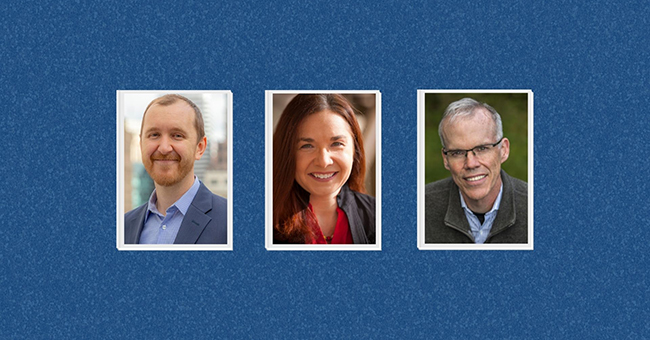 From left to right: Andreas Karelas, Katharine Hayhoe, Bill McKibben