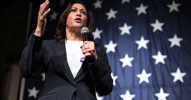 US Senator Kamala Harris speaking with attendees at the 2019 Iowa Democratic Wing Ding at Surf Ballroom in Clear Lake, Iowa.