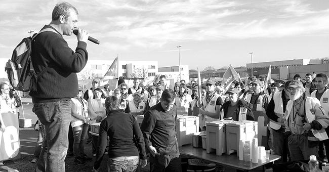 Amazon workers gather to strike