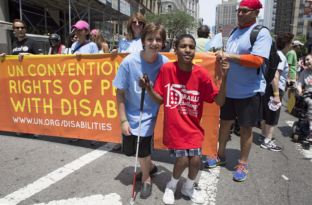 New York City held its first Disability Pride parade on 12 July, marking the 25th anniversary of the Americans with Disabilities Act, was signed into law on July 26, 1990. Photo credit: United Nations, NY.