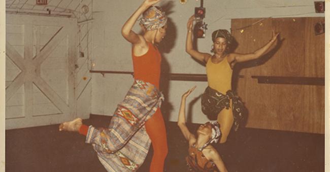 Halifu Osumare, Aisha Kahlil, and Ntozake Shange dancing in Oakland California, circ. 1970s.