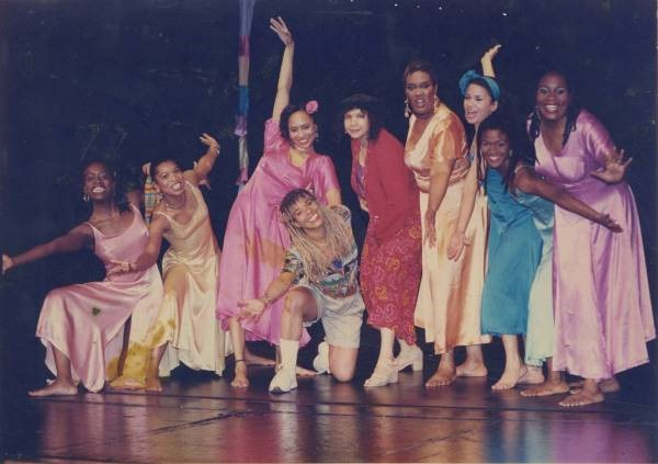 Ntozake Shange with a cast of for colored girls