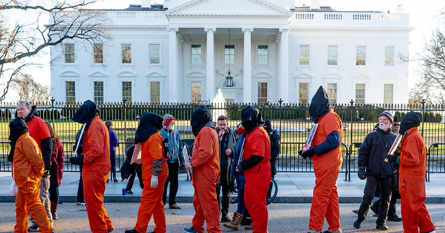 Guantánamo Bay protest in front of the White House on the seventeenth anniversary of Guantánamo Bay, January 11, 2019.