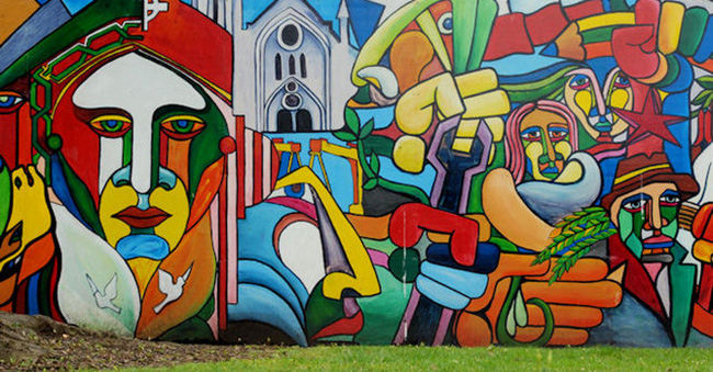 Mural celebrating Latin American culture, commissioned by Northern Ireland's Latin American Association, in partnership with Belfast City Council and others.