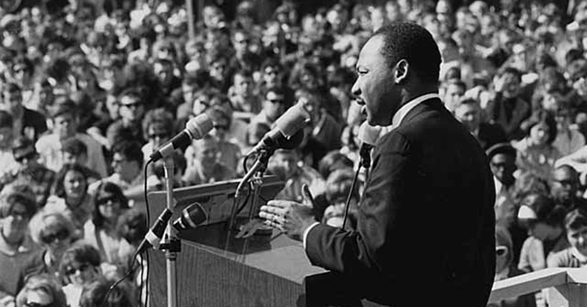 Martin Luther King, Jr., speaking against the Vietnam War, St. Paul Campus, University of Minnesota, 27 April 1967.