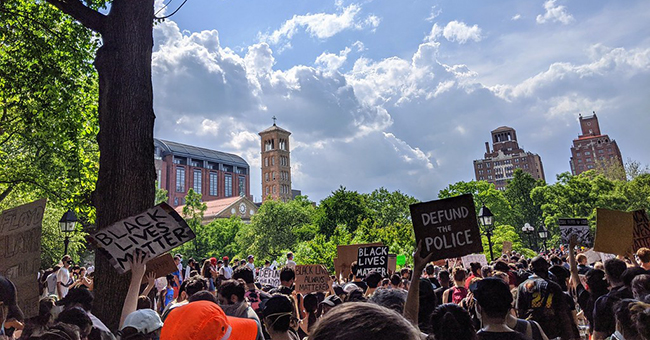 Black Lives Matter/Defund the Police rally in Washington Square Village, NY, 6 June 2020.