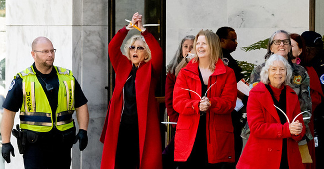 Jane Fonda and other demonstrators arrested in the Hart Senate Office Building during a Fire Drill Friday protest.