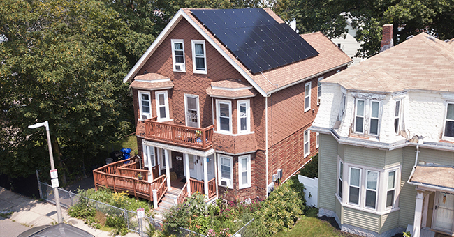 Solar roof on Elnora Thompson's home